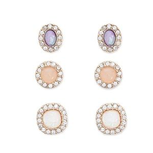 BRAND NEW Rhinestone Faux Gem Stud Earring Set